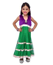 Kilkari Sleeveless Kurti Churidar With Dupatta - Green Purple
