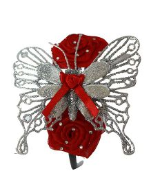 Many Frocks & Roses & Butterfly Hairband - Red & Silver