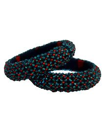 Many Frocks & Handcrafted Beads Bangles - Blue & Red