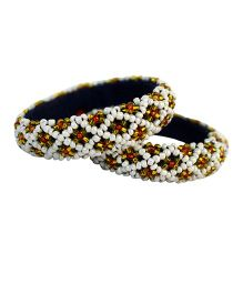 Many Frocks & Handcrafted Beads Bangles - White & Yellow