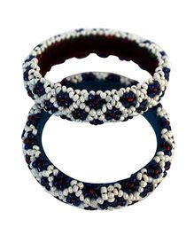 Many Frocks & Handcrafted Beads Bangles - Blue & White