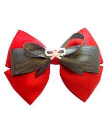 Keira's Pretties Bow Hair Pin - Red & Grey