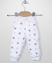 Babyhug Full Length Track Pant Allover Butterfly Print - White