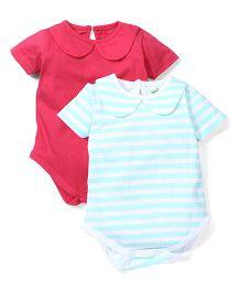Babyhug Peter Pan Collar Solid & Striped Pack Of 2 Onesies - Turquoise & Crimson