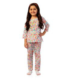 De-nap Little Miss Flower Pyjama Set - Cream