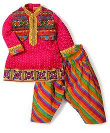 Exclusive From Jaipur Full Sleeves Kurta Jacket And Patiala - Pink