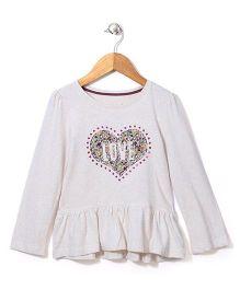 Mothercare Long Sleeves Top Heart Print - Cream