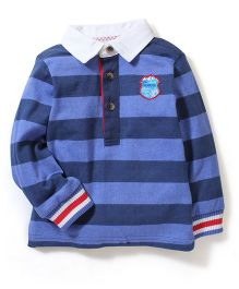 Mothercare Full Sleeves Stripe T-Shirt Champion Embroidery - Blue
