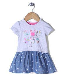 Mothercare Half Sleeves Frock Bunny Print - Light Grey & Denim
