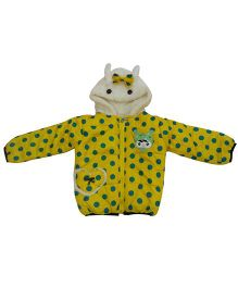 Kuddle Kids Polka Dots Print Hooded Jacket - Yellow