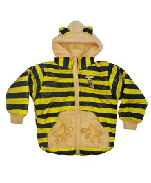Kuddle Kids 3D Bear Motif Jacket - Yellow & Navy Blue