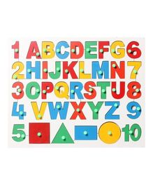 Little Genius Wooden English Alphabet With Number And Shapes Puzzle - Multicolor