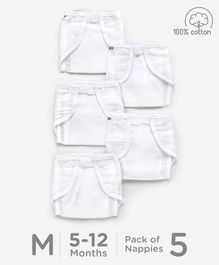 Babyhug Muslin Cotton Cloth Nappies With Velcro Medium Set Of 5 - White