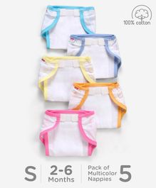 Babyhug Muslin Cotton Cloth Nappies With Velcro Small Set Of 5 - Multicolor