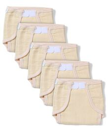 Babyhug Muslin Cotton Cloth Nappies With Velcro Medium Set Of 5 - Peach