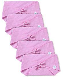 Babyhug Muslin Cotton Triangle Cloth Nappies Large Set Of 5 - Pink