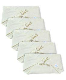Babyhug Muslin Cotton Triangle Cloth Nappies Medium Set Of 5 - Lemon