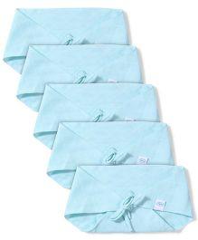 Babyhug Muslin Cotton Triangle Cloth Nappies Large Set Of 5 - Aqua