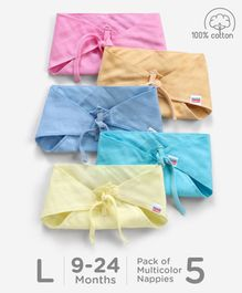Babyhug Muslin Cotton Triangle Cloth Nappies Large Set Of 5 - Multicolor