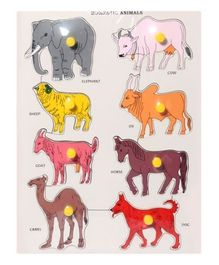 Wooden Domestic Animals Puzzles - Multicolor