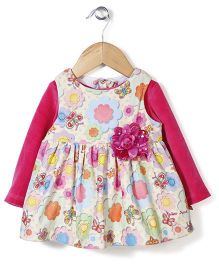 Yellow Duck Frock With Inner Tee Floral Applique - Yellow