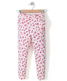 Chic Girls Strawberry Printed Pant - White & Pink