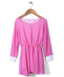 Chic Girls Full Sleeves Frock - Pink