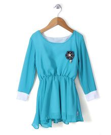 Chic Girls Boat Neck Full Sleeves Frock - Aqua