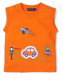 Great Babies Sleeveless T Shirt City Print - Orange