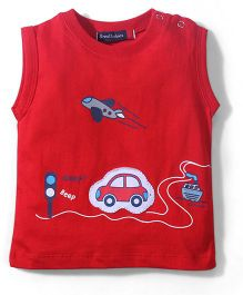 Great Babies Short Sleeves Sleeveless T Shirt City Print - Red