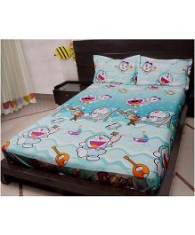 Doraemon Double Bed Sheet And Two Pillow Cover - Blue