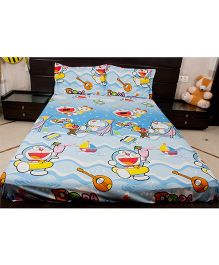 Doraemon Double Bed Sheet And Two Pillow - Blue