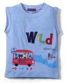 Great Babies Sleeveless T Shirt Bus Print - Blue