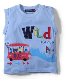 Great Babies Sleeveless T Shirt Bus Print -  Blue
