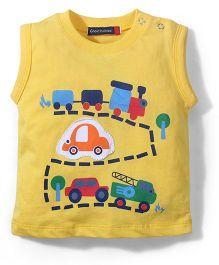 Great Babies Car Print Sleeveless T-Shirt - Yellow