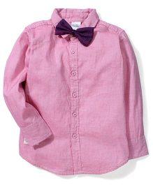 Babyhug Full Sleeves Plain Shirt With Bow - Pink