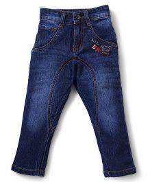 Babyhug Full Length Jeans Lil Bro Embroidery - Light Blue