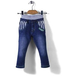 Babyhug Jeans Strip Patched Pockets - Blue