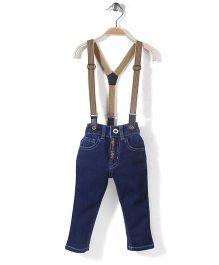 Babyhug Denim Jeans With Suspenders - Dark Blue