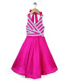 Kilkari Halter Neck Party Frock - Fuchsia