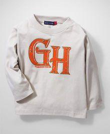 Great Babies Full Sleeves GH Print T-Shirt - Cream