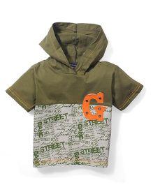 Great Babies Hooded T-Shirt - Green & Wheat
