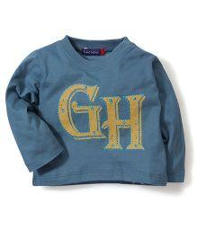 Bob Street Full Sleeves GH Print T-Shirt - Dark Blue
