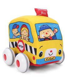 K's Kids School Bus Soft Vehicle Toy - Yellow