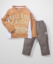 Mall Kids T Shirt And Pant Set - Peach