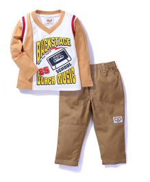 Kiddy Mall Full Sleeves T-Shirt And Pull On Pants - White Brown