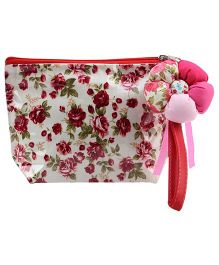 The Eed Multi Utility Pouch Flower Print - White