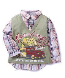 Kiddy Mall Full Sleeves Check Shirt - Light Green