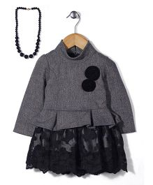 Little Kangaroos Full Sleeves Party Frock with Necklace - Grey and Black