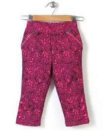 Lei Chie Casual Capri With Flock Print - Pink